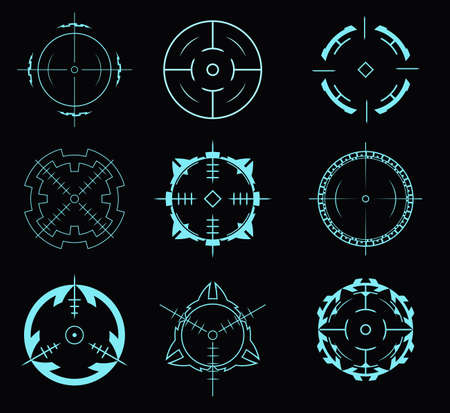 Set of crosshairs for the hud interface.Vector illustration.