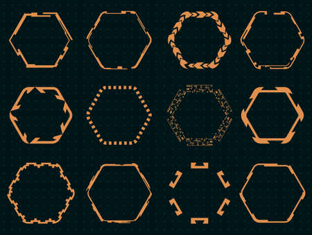 Collection of hexagons for the hud interface.Vector illustration. Ilustracja