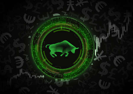 Bull market concept.Dark background with currency symbols.