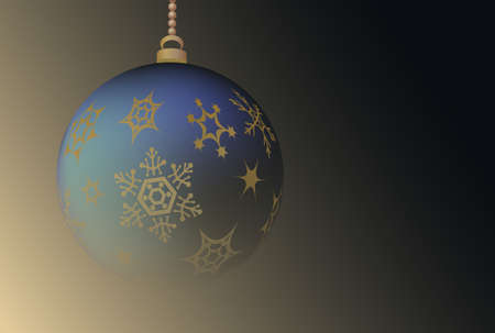 Dark background with Cristmas ball and place for text.Vector illustration.