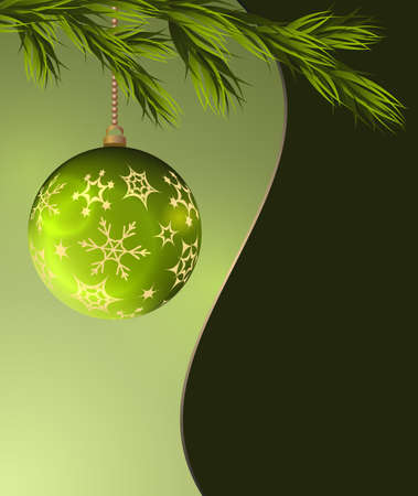 Christmas greeting card with green ball.Vector illustration.
