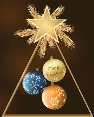Christmas decoration with baubles and star.Vector illustration. Иллюстрация