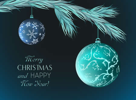 Christmas greeting card with elegant balls.Vector illustration.