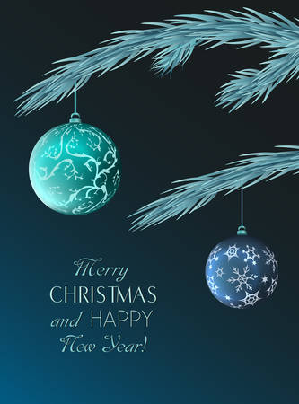 Christmas greeting card with elegant balls.Vector illustration. Archivio Fotografico - 127577173