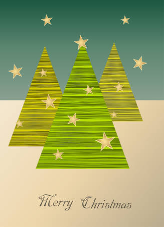 Christmas Card with trees and stars.Vector illustration. Иллюстрация