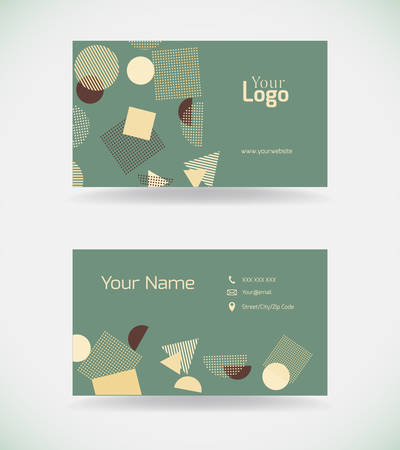 Business card template in vintage style.Vector illustration.