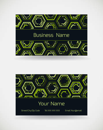 Business card template with green futuristic pattern.Vector illustration.