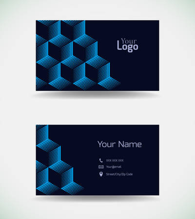 Business card template with blue elements.Vector illustration. Иллюстрация