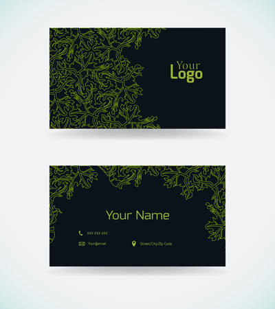 Business card template with green pattern.Vector illustration.