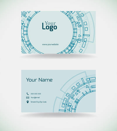 Business card template with technological elements.Vector illustration.