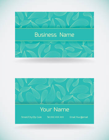 Turquoise business card template with a delicate pattern.Vector illustration.