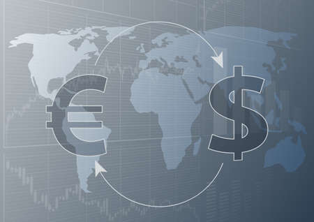 Global currency trading.Symbols of the dollar and the euro.