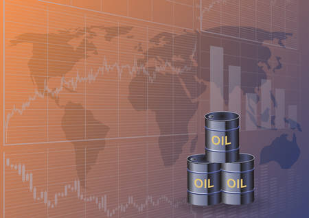Oil barrels and stock charts.The concept of global oil trade. Иллюстрация