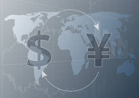 Currency exchange dollar and yen.Modern trade concept.