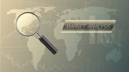 Market analysis concept with a magnifying glass.Vector illustration. Иллюстрация