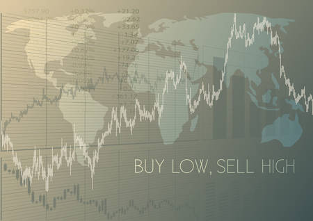 Buy low,sell high.Financial proverb and stock charts Иллюстрация