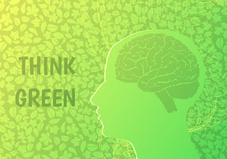 Think green concept.Human head on a green background. Иллюстрация