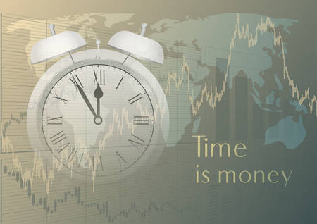 Time and Money concept with clock and stock charts.Vector illustration.  イラスト・ベクター素材