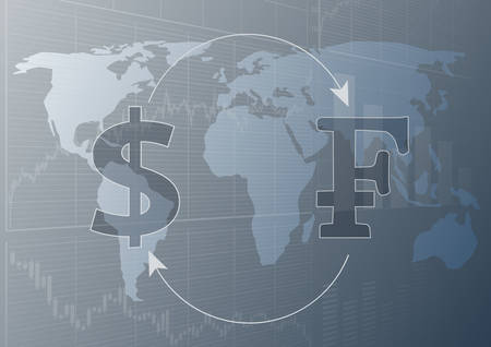 Currency exchange dollar and Swiss Franc.Modern trade concept.