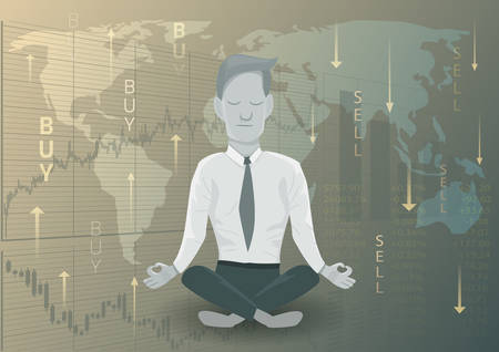 Businessman meditating on the financing decision.Financial concept.