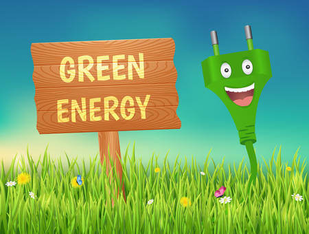 Green energy concept.Smiling plug on a meadow. Archivio Fotografico - 126954122