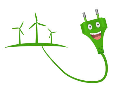 Green plug and windmills.Green energy concept.