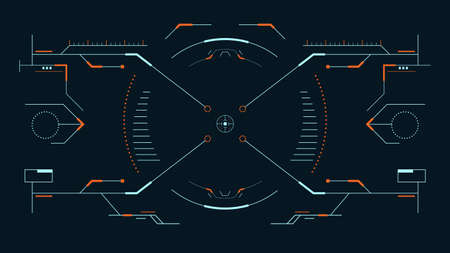 Futuristic sight for the hud interface.Vector illustration. Çizim