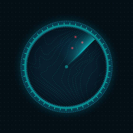 Modern radar screen in blue color.Vector illustration.