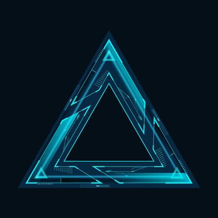 Triangular futuristic frame for hud interface.Vector illustration.