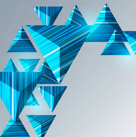 Abstract composition with blue triangles.Geometric vector background. Иллюстрация