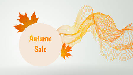 Autumn sale banner with abstract wave.Vector illustration.