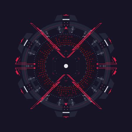 Élément circulaire à l'interface HUD. Modèle vectoriel.