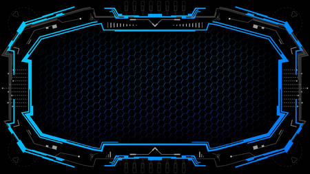 Dark technology background with futuristic frame.Futuristic banner template.Vector illustration.
