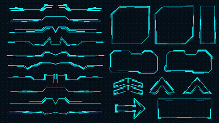 Set of futuristic elements for the hud interface.Vector virtual graphic touch user interface.