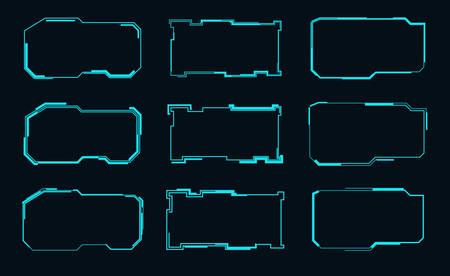 Set of futuristic frames for the hud interface.Vector illustration.
