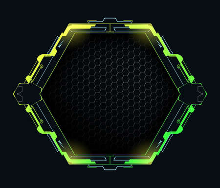 Futuristic hexagonal frame with copy space.Vector element for high tech interface.