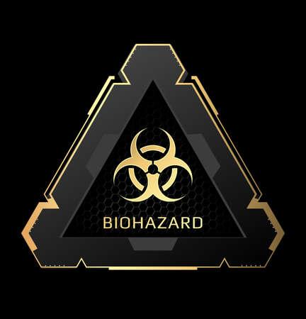 Biohazard symbol in a futuristic frame.Vector illustration.