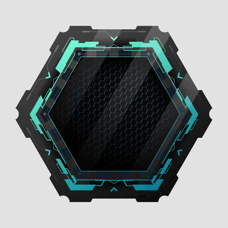 Futuristic hexagon with copy space.Vector element for modern interface.
