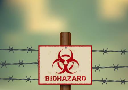 Biohazard symbol on a barbed wire fence. Çizim