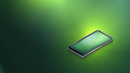 Modern smartphone on a green background.Isometric vector illustration.