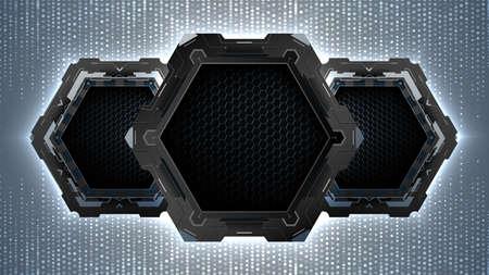 Modern background with dark futuristic hexagons.Technology vector background.