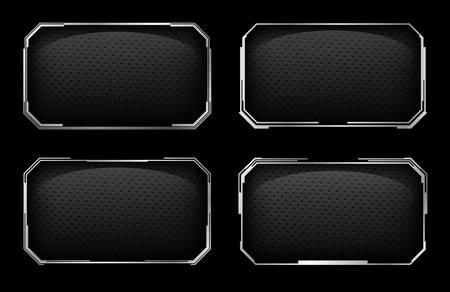 Set of modern frames with metallic elements.Vector illustration.
