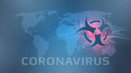 Coronavirus concept with the world map and the biohazard symbol.Vector illustration. Çizim