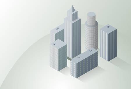 Isometric city on a light background.Vector illustration. Çizim