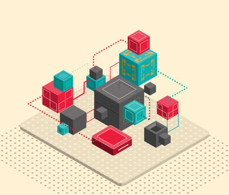 Abstract composition with isometric cubes.Vector illustration.
