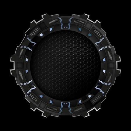 Round metallic frame for futuristic design.Vector illustration.