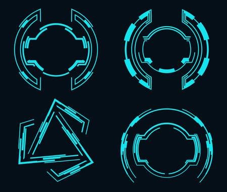 Set of futuristic elements for the hud interface.Vector illustration. Illusztráció