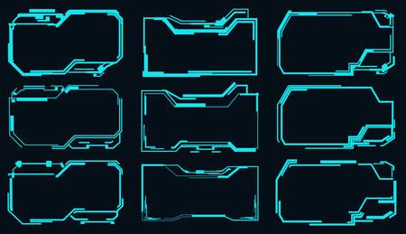 Set of empty futuristic frames for hud interface.Vector illustration. Çizim
