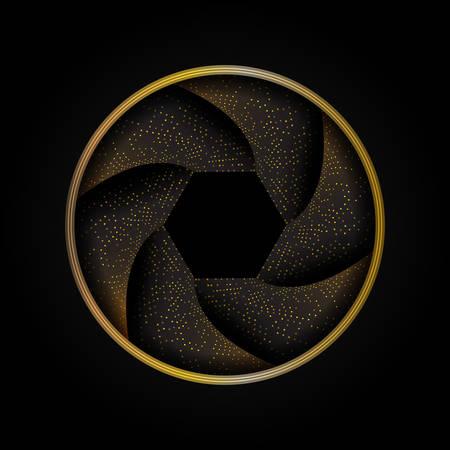 Abstract camera shutter with golden glitter.Vector illustration.