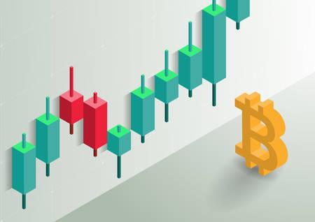 Bitcoin symbol and candlestick chart.Isometric vector illustration. Çizim